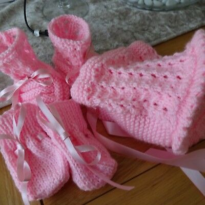 Hand Knitted Baby Girl's Pink Bonnet, mitts and bootees 0-3 months size