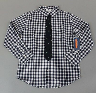 Old Navy Boys Long Sleeve Plaid Button Down Shirt & Tie Set BF5 Blue Large NWT