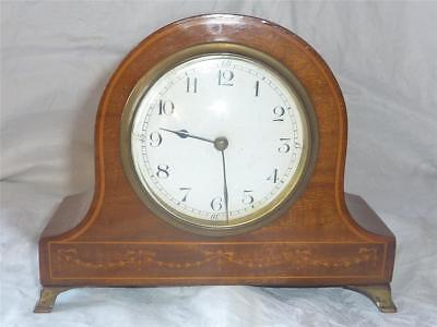 Antique Inlaid Mahogany Mantle Clock With Working French Movement