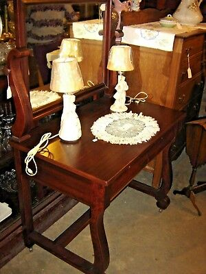 Antique Mahogany Empire Style Vanity with drawer.  8748