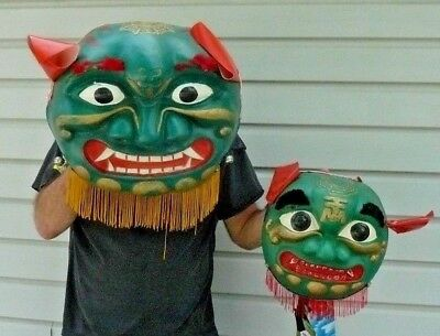 Old Halloween Chinese Lion Dragon Mask Heads Hand-painted Vacuum Formed Plastic