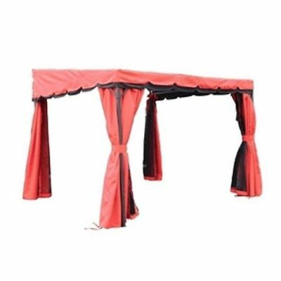 9.2' x 9.2' Red Balcony Gazebo, with Curtains