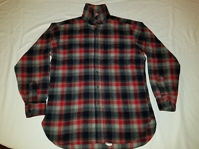 Pendleton Woolen Mills Vintage RED Plaid Wool Button Front Board  Shirt - LRG