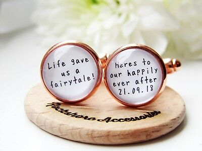 Happily Ever After Groom Wedding Cufflinks Personalised Rose Gold Gift In Box