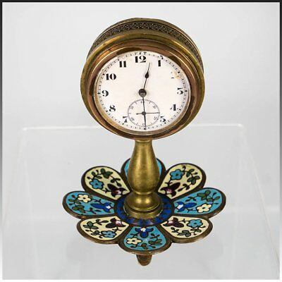 Antique French Champleve Enamel Desk Clock Stand, Watch, Jewelry Holder