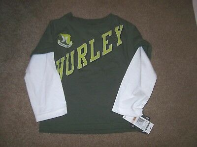 New Hurley long sleeve tee T shirt boys baby infant olive green logo  size 2T