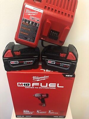 "Milwaukee 2860-20 M18 FUEL 1/2"" Pin Detent Impact Wrench + (2) 5.0AH (1) CHARGER"