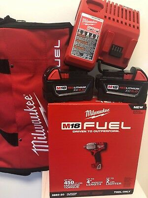 """Milwaukee 2860-22 M18 FUEL 1/2"""" Pin Impact Wrench + (2) 5.0AH (1) CHARGER & BAG"""