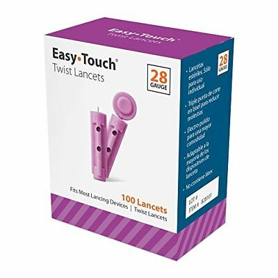 4 Packs Easy Touch Twist Lancets 28 Gauge Size 100 Total per Box Each