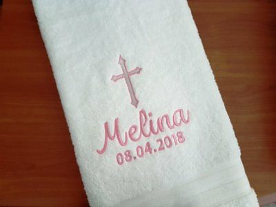 Cross Baptism / Christening Personalised Bath Towel - Cross Name Date