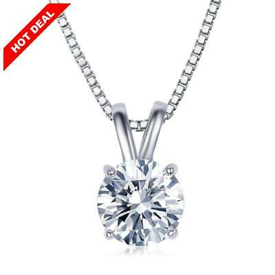 """Round Pendant Queen Necklace Jewelry 2 Carat Clear Zirconia 18"""" Mothers Day Gift"""