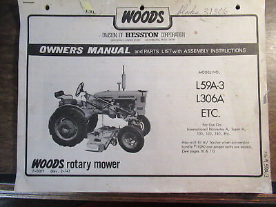 WOODS 1974 L59 A 3 L306 A Rotary Belly Mower Operators Parts Manual