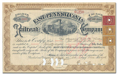 East Pennsylvania Railroad Company Stock Certificate (Dated 1906)