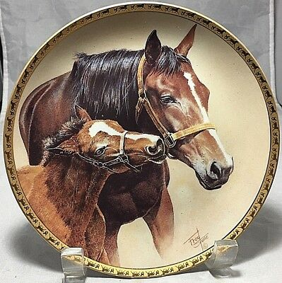 """American Artists """"Patience"""" 6.5"""" Horse porcelain decorative plate by Fred Stone"""