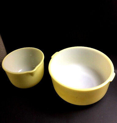 2-VINTAGE YELLOW MILK Glass Glasbake Bowls for Sunbeam Mixmaster ...