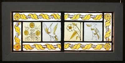 "MID SIZED OLD ENGLISH LEADED STAINED GLASS WINDOW HP Bird/Floral 23.25"" x 11.5"""