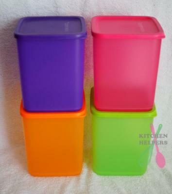 Tupperware Square Round Storers 1.8Ltr- 4 piece Set -New - Pink purple green