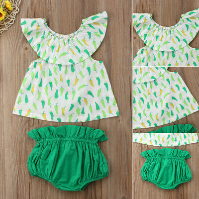 US Newborn Toddler Baby Girls Green Pepper Print Off-shoulder Tops Pants Clothes