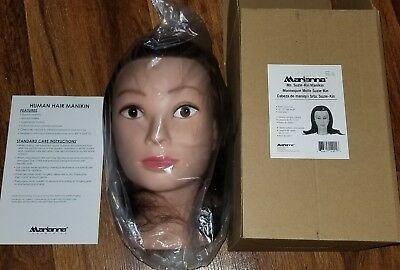 "Marianna 18-20"" Cosmetology Mannequin Head 100% Human Hair Miss Manikin W/CLAMP"