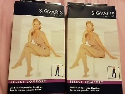 NEW Sigvaris Thigh Hi Medical Compression Stockings Women 20-30mmHg Natural