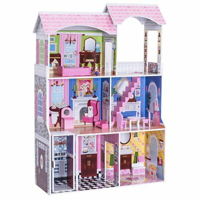 "46"" Dollhouse, 3 Levels House with Furniture Gliding Elevator Rooms, Pink"