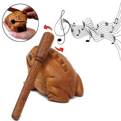 1XWooden Animal Money Frog Clackers Kids Musical Instrument Percussion Toy Decor