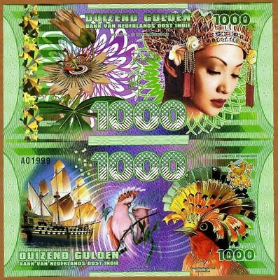 NETHERLANDS EAST INDIES 1000 Gulden 2016 1 x FANTASY Polymer Banknote Set