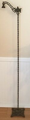 Old Vtg Antique Cast Wrought Iron Bridge Arm Metal Decorative Floor Lamp Light