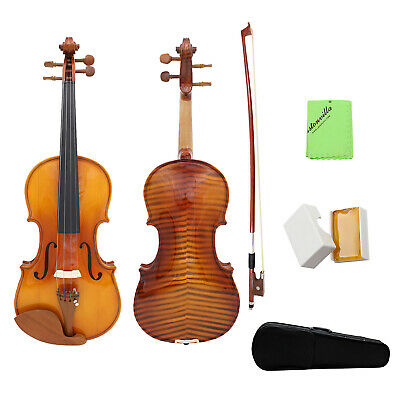Full Size 4/4 Natural Acoustic Solid Wood Violin Fiddle for Student Gift S9M2