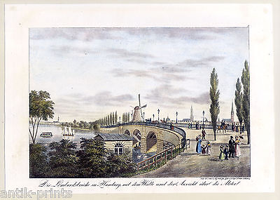 Lombardsbrücke in Hamburg-Alster - Lithographie Peter Suhr 1840