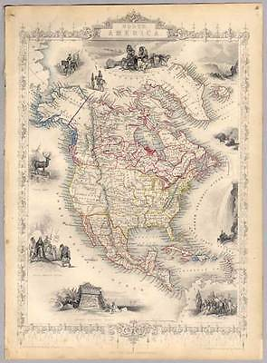 Amerika-Nordamerika-North America - Tallis & Co. 1850 Karte-Map