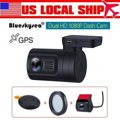 HD 1080P Dual Lens Vehicle Front &Rear view Camera Recorder Car DVR Dash Cam