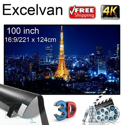 """Excelvan 84"""" 100"""" 120"""" 16:9 Collapsible White Portable Projector Cloth Screen"""