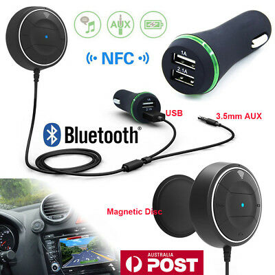 Wireless Bluetooth NFC 3.5mm AUX Audio Stereo Music USB Car Receiver Adapter AU