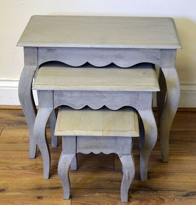 Bourdeilles Solid Shabby Chic Vintage Nest of 3 Tables in Mango , Free Delivery!