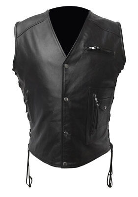 Mens Biker Style Vest Real Cow Leather Black Motorcycle Waistcoat