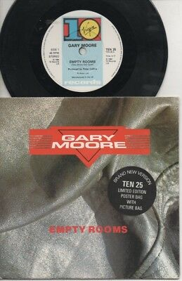 """GARY MOORE   Rare 1984 UK Only 7"""" Mint OOP Poster Pack P/C Single """"Empty Rooms"""""""