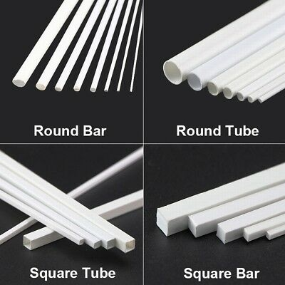 White ABS Styrene Plastic Strip Tube Round Bar Rods Square Bar Rod 250mm Length