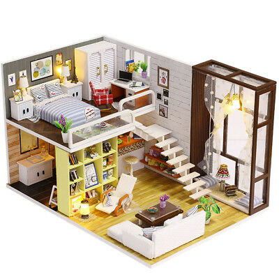 Diy Wooden Doll House Toy Dollhouse Miniature Assemble Kit With Led Furnitures H