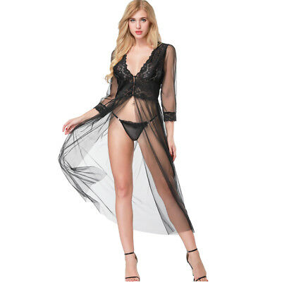 Womens Sexy Lace Mesh See-Through Ladies Gown Long Robe Lingerie Dress Nightwear