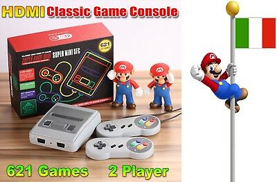 HDMI Classic Mini SFC Game Consolle Nintendo style Built-in 621 giochi ITALIA