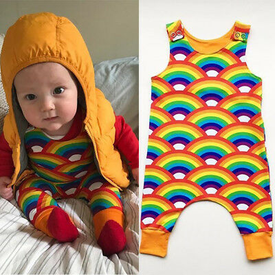 AU Newborn Infant Baby Boy Girl Rainbow Romper Bodysuit Jumpsuit Summer Clothes