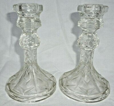 ART DECO DEPRESSION GLASS 2 CANDLE HOLDERS or CANDLE STICKS - very good cond