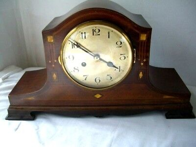 Edwardian Mantle clock mahogany inlaid running well and serviced