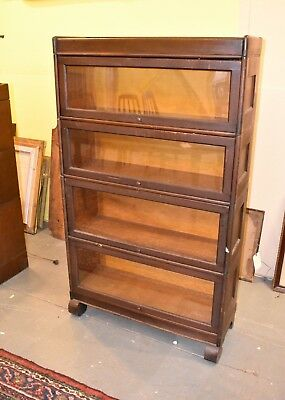 Antique Mahogany 4 Stack Barrister Lawyer's Bookcase Display Cabinet Empire