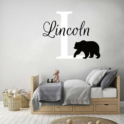 Boys Name Wall Decal Personalized Initial Vinyl Sticker Rustic Deer Horns NS2042