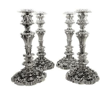 "Set Of 4 Antique William Iv Sterling Silver 13"" Candlesticks - 1832"