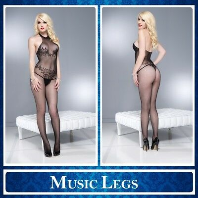 Bodystocking nera aperta Music Legs 1604 Sexy Lingerie Intimo donna Sex Toys hot