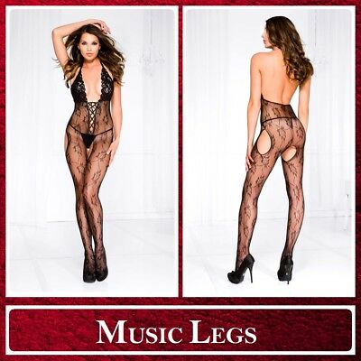 Bodystocking nera Lacing Music Legs Sexy Lingerie Intimo donna Sex Toys Catsuit