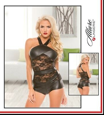 Body nero Wetlook Lace Romper Allure Lingerie Sexy Shop Toy Fetish Erotic Intimo